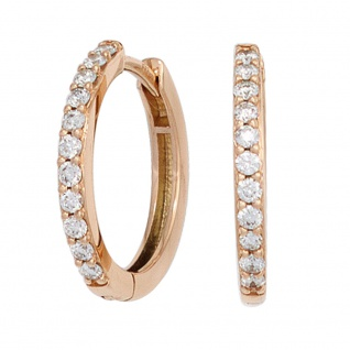 Creolen 585 Gold Rotgold 22 Diamanten Brillanten Ohrringe Diamantcreolen
