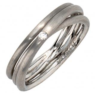 Damen Ring 950 Platin matt 1 Diamant Brillant Platinring dreireihig mehrreihig