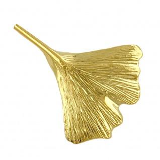 Brosche 30x24mm Ginkgoblatt glänzend 9Kt GOLD
