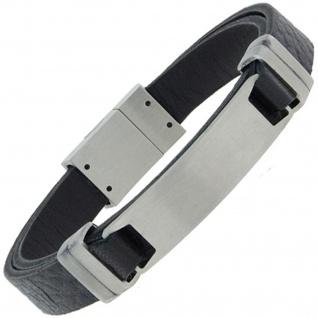 Armband mit Gravurplatte Leder schwarz und Edelstahl matt 21 cm