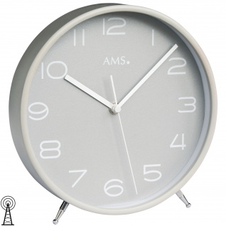AMS 5119 Tischuhr Funk Holz grau mit Glas