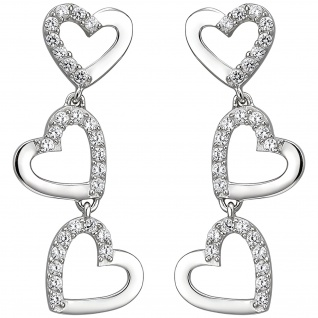 Ohrhänger Herzen 925 Silber 52 Zirkonia Ohrringe