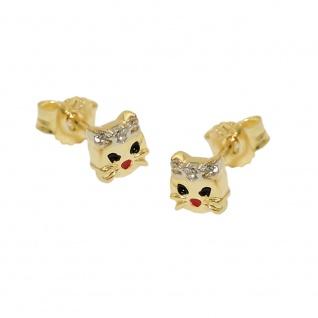 Stecker 5mm Katzenkopf mit weißem Zirkonia und farbig lackiert 9Kt GOLD