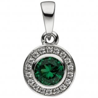 Anhänger Rund 925 Sterling Silber Zirkonia grün und weiß