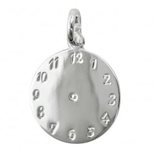 Anhänger 14mm Geburtsanhänger Uhr glänzend Silber 925