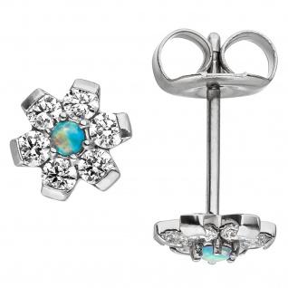 Ohrstecker Blume aus Edelstahl mit Kristallsteinen Ohrringe