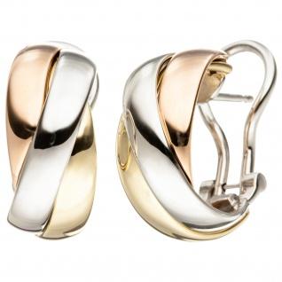 Creolen 585 Gold Gelbgold Weißgold Rotgold tricolor dreifarbig Ohrringe
