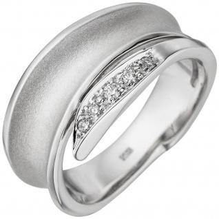 Damen Ring 585 Gold Weißgold teil matt 5 Diamanten Brillanten Diamantring