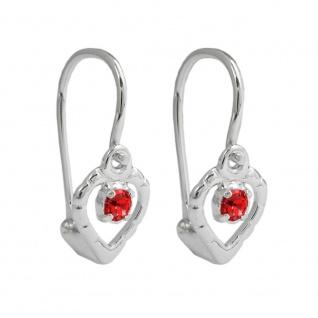 Ohrhaken Ohrringe 15x6mm Herz Glasstein rot glänzend Silber 925