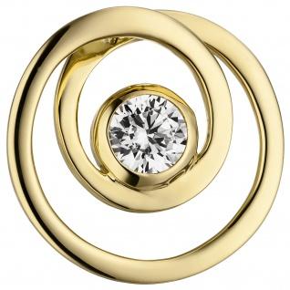 Anhänger rund 925 Sterling Silber gold vergoldet 1 Zirkonia