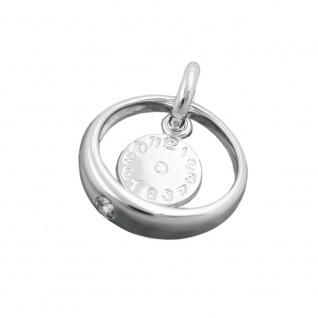 Anhänger 12x3mm Taufring mit Zirkonia weiß und Geburtsuhr Silber 925