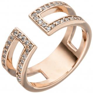 Damen Ring 2-reihig offen 925 Sterling Silber rotgold vergoldet 38 Zirkonia