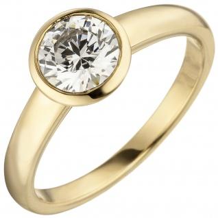 Damen Ring 585 Gold Gelbgold 1 Diamant Brillant 1, 0 ct. Diamantring Solitär