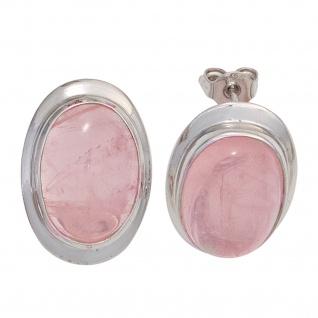 Ohrstecker oval 925 Sterling Silber rhodiniert 2 Rosenquarze rosa Ohrringe