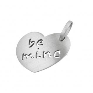 Anhänger 16x20, 5mm Herz mit Inschrift - be mine - mattiert rhodiniert Silber 925