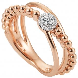 Damen Ring 585 Gold Rotgold Roségold 31 Diamanten Brillanten Roségoldring