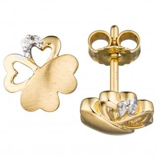 Ohrstecker Kleeblatt 333 Gold Gelbgold teil matt 4 Zirkonia Ohrringe