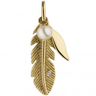 Anhänger Feder 585 Gelbgold 1 Süßwasser Perle 1 Diamant Brillant
