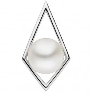 Anhänger 585 Gold Weißgold 1 Süßwasser Perle Perlenanhänger Weißgoldanhänger