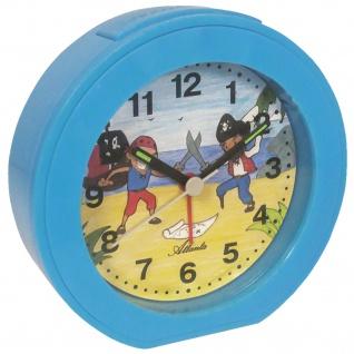 Atlanta 1998/5 Wecker für Kinder Quarz analog PIRATEN Kinderwecker blau