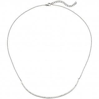Collier Halskette Kette mit Anhänger aus Edelstahl mit Kristallen 50 cm