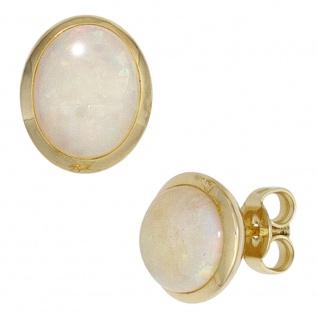 Ohrstecker oval 585 Gold Gelbgold 2 Opal-Cabochons Ohrringe Opalohrringe