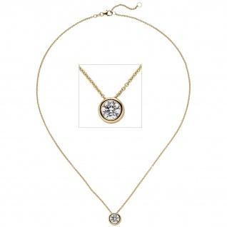 Collier Kette mit Anhänger 585 Gold Gelbgold 1 Diamant Brillant 1, 0 ct. 45 cm