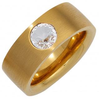 Damen Ring breit Edelstahl gold vergoldet matt mit Kristallstein