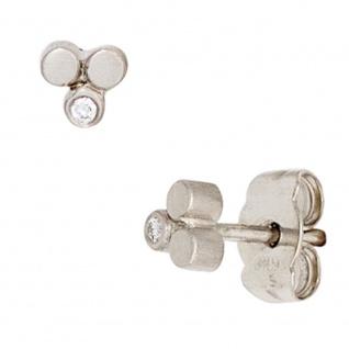 Ohrstecker 950 Platin matt 2 Diamanten Brillanten Ohrringe Platinohrringe