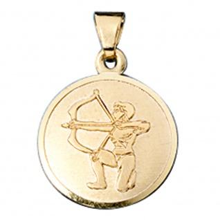 Anhänger Sternzeichen Schütze 333 Gold Gelbgold matt Sternzeichenanhänger