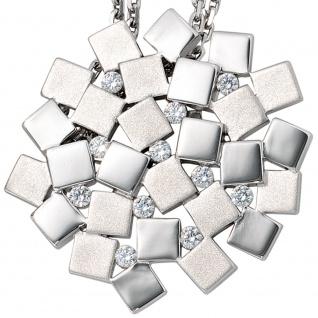 Anhänger 925 Sterling Silber rhodiniert mattiert 11 Zirkonia - Vorschau 2