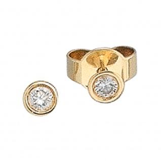 Ohrstecker rund 585 Gold Gelbgold 2 Diamanten Brillanten 0, 10ct. Ohrringe - Vorschau 2