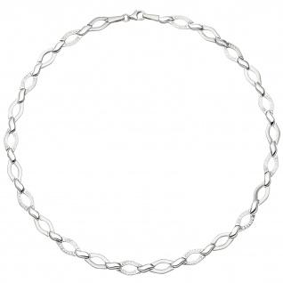 Collier Halskette 925 Silber 144 Zirkonia 45 cm Kette Silberkette