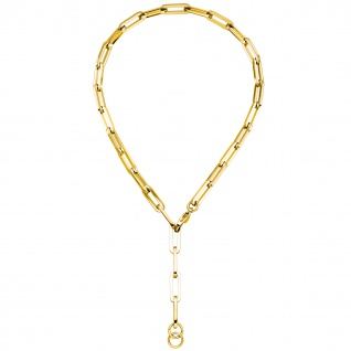 Y-Collier Halskette Edelstahl gelbgoldfarben beschichtet 55 cm