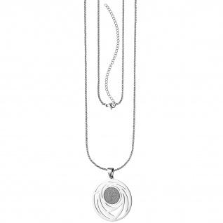 Collier Kette mit Anhänger rund Edelstahl mit Glitzer-Effekt 80 cm verkürzbar
