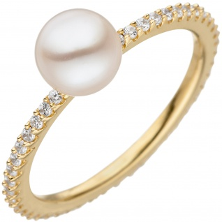 Damen Ring 925 Silber gold vergoldet 1 Süßwasser Perle mit Zirkonia Perlenring