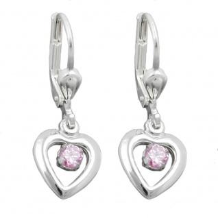 Ohrbrisur Ohrhänger Ohrringe 12x9mm Herz mit Zirkonia pink Silber 925