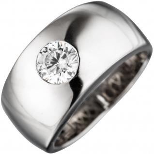 Damen Ring breit 925 Sterling Silber rhodiniert 1 Zirkonia Silberring