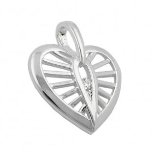 Anhänger 18x16mm Herz mit Zirkonias Silber 925