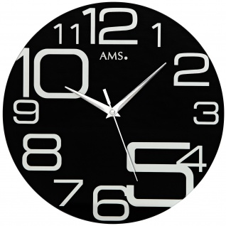 AMS 9461 Wanduhr Quarz analog schwarz rund modern