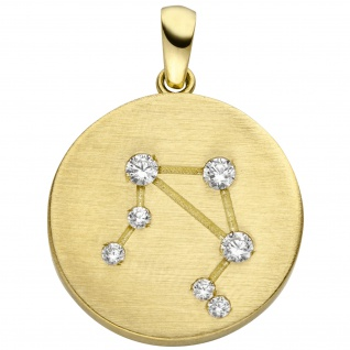 Anhänger Sternzeichen Waage 333 Gold Gelbgold matt 7 Zirkonia Goldanhänger