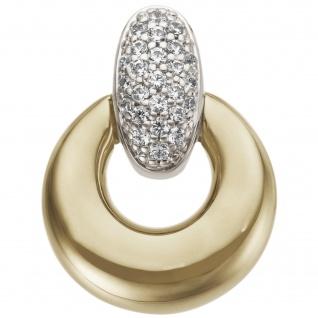 Anhänger 585 Gold Gelbgold Weißgold bicolor 25 Diamanten Brillanten 0, 12ct.