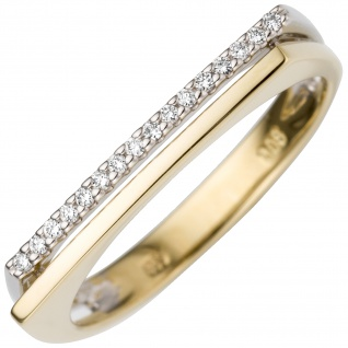 Damen Ring 585 Gold Gelbgold Weißgold bicolor 16 Diamanten Brillanten