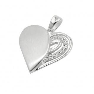 Anhänger 16x16mm Herz mit Zirkonias matt-glänzend Silber 925