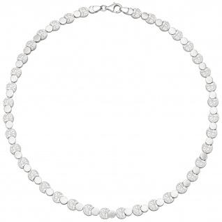 Collier Halskette 925 Sterling Silber gehämmert 45 cm Kette Silberkette