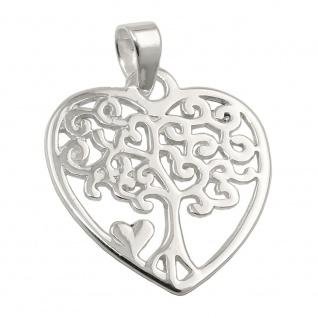Anhänger 18x16mm Herz mit Lebensbaum glänzend Silber 925