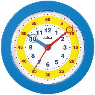 Atlanta 4481/5 Wanduhr für Kinder Kinderwanduhr Lernuhr blau leise ohne Ticken