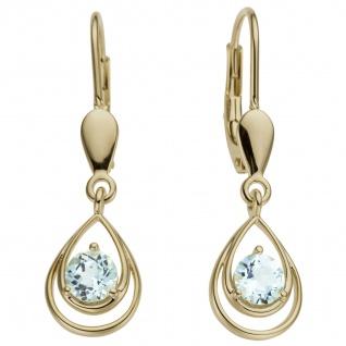 Ohrhänger Tropfen 585 Gold Gelbgold 2 Blautopase hellblau blau