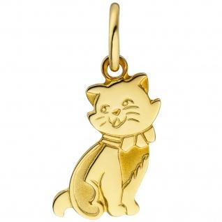 Anhänger Katze 333 Gold Gelbgold teil matt Goldanhänger Katzenanhänger