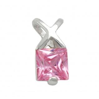 Anhänger 13x6mm Zirkonia pink Silber 925